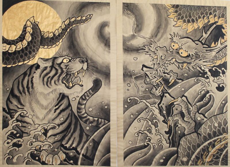 Tiger and Dragon Japanese Painting