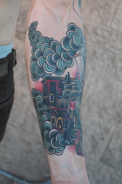 Train Arm Tattoo