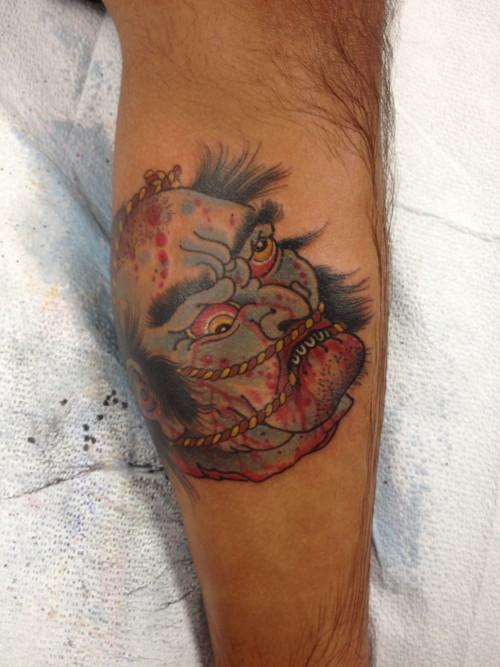 Japanese severed head tattoo