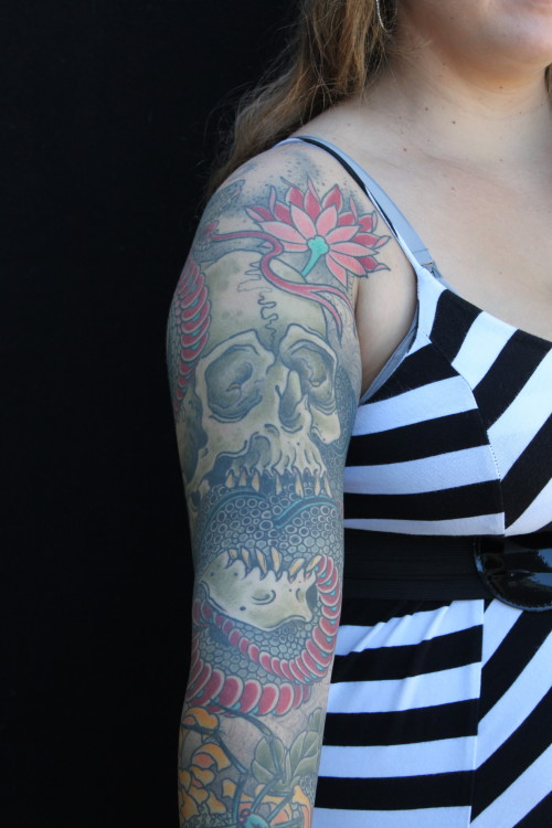 Skull and Cobra Sleeve Tattoo
