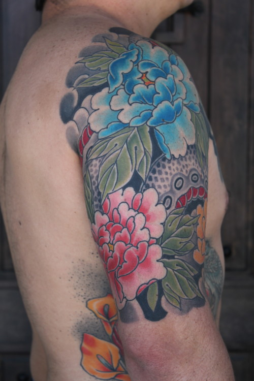 snake and peonies tattoo