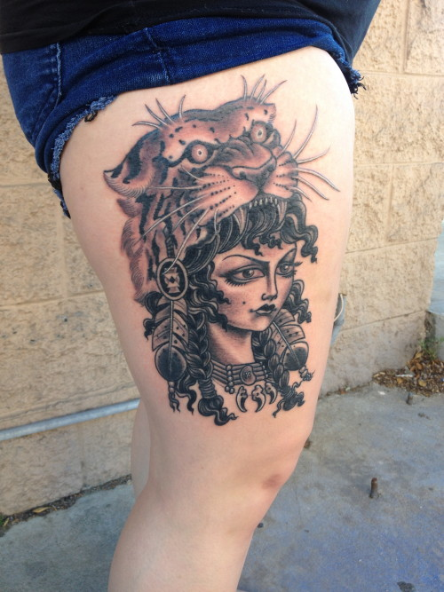 indian girl thigh tattoo