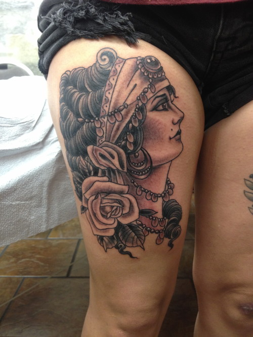 gypsy girl thigh tattoo